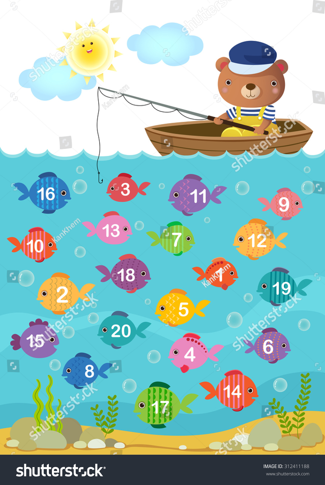Worksheet Kindergarten Kids Learn Counting Number Stock Vector