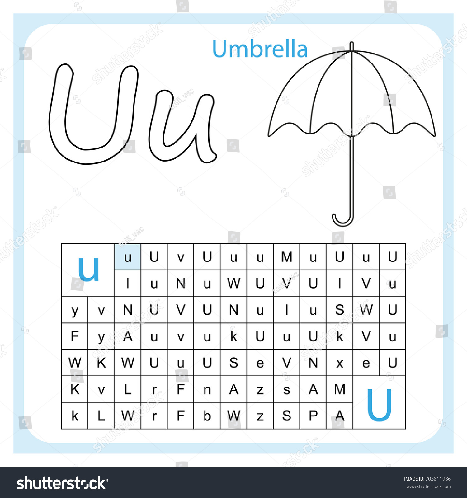 Preschool Letter U Worksheet For Kindergarten