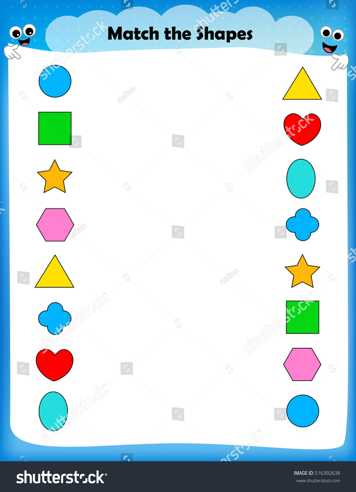 Worksheet Match Similar Shapes Worksheet Preschool Stock