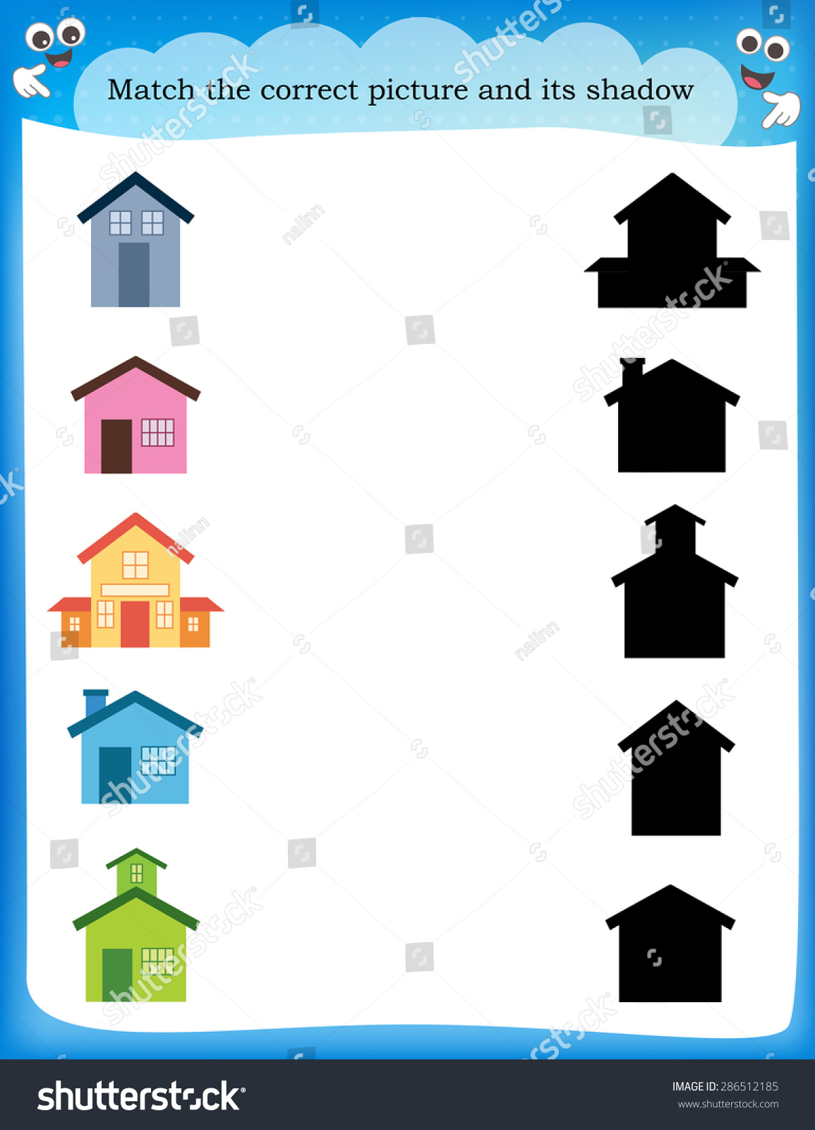 Worksheet Recognizing Shapes Draw Line Match Stock Vector