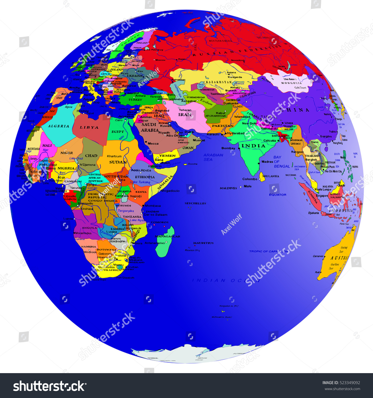 World Map Countries Globe Planet Earth Stock Vector