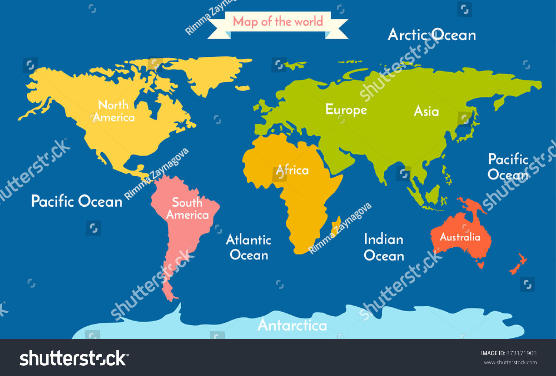 World Map Vector Illustration Inscription Oceans Stock