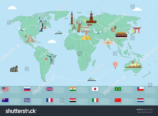 World Map Famous Landmarks Travel Tourism Stock Vector