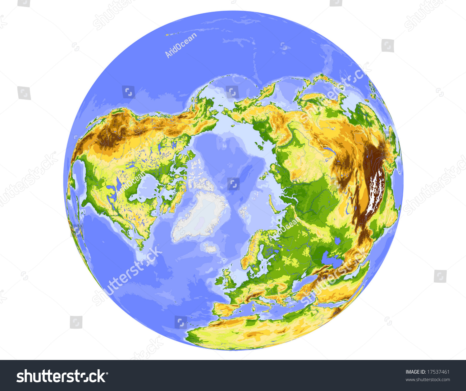 World Physical Vector Map Centered On Stock Vector