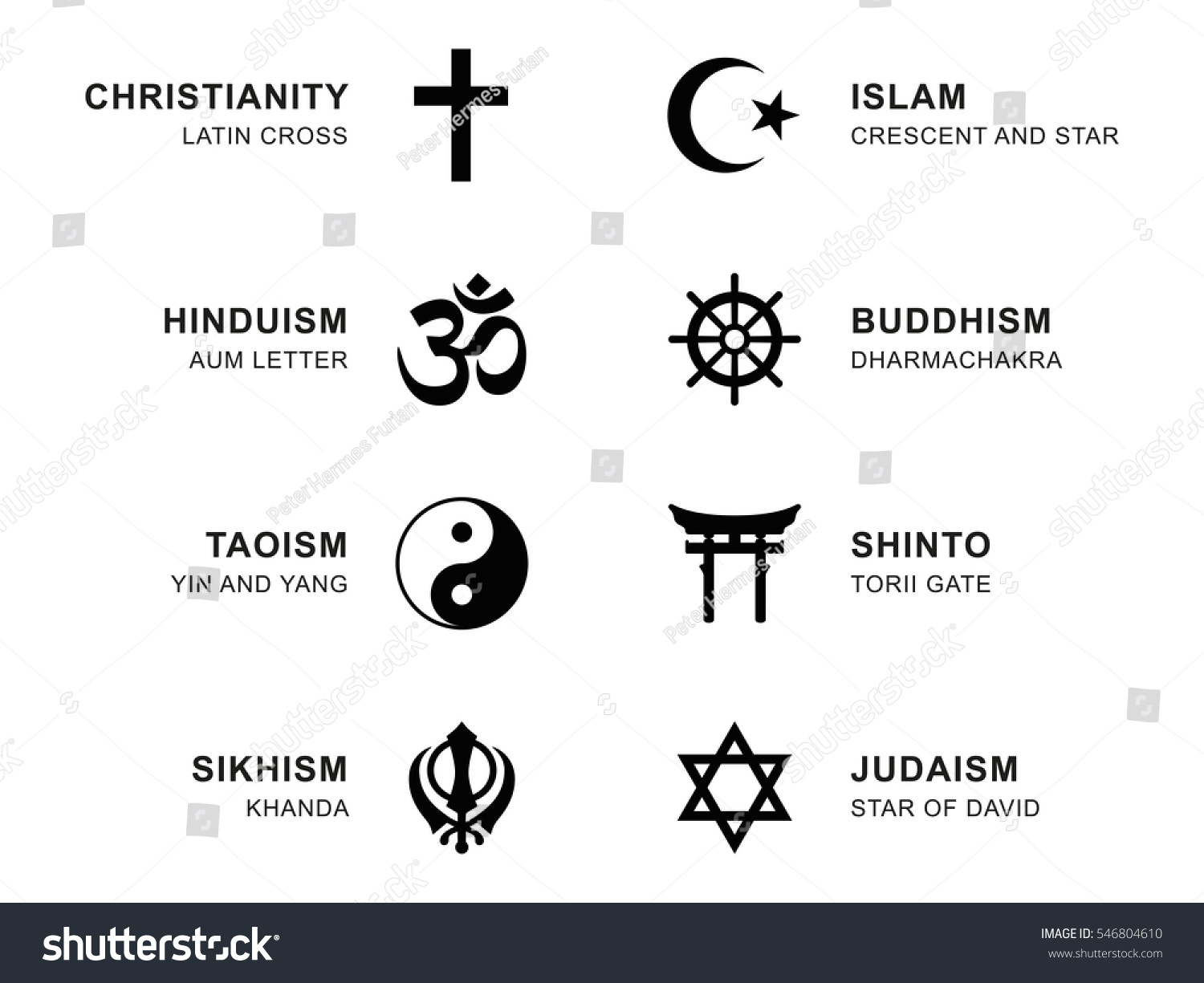 World Religion Symbols Eight Signs Major Stock Vector