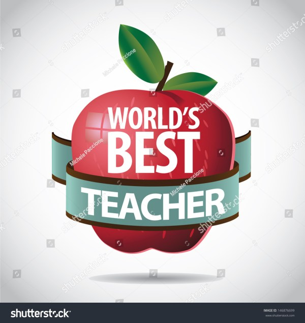 Worlds Teacher Apple Icon Symbol Stock Vector