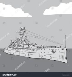 world war 2 us battleship hand drawn vector illustration  [ 1500 x 1600 Pixel ]