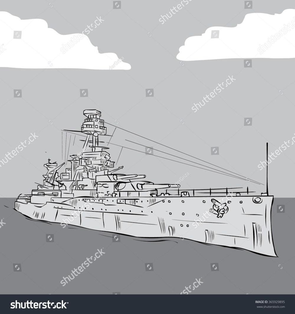 medium resolution of world war 2 us battleship hand drawn vector illustration