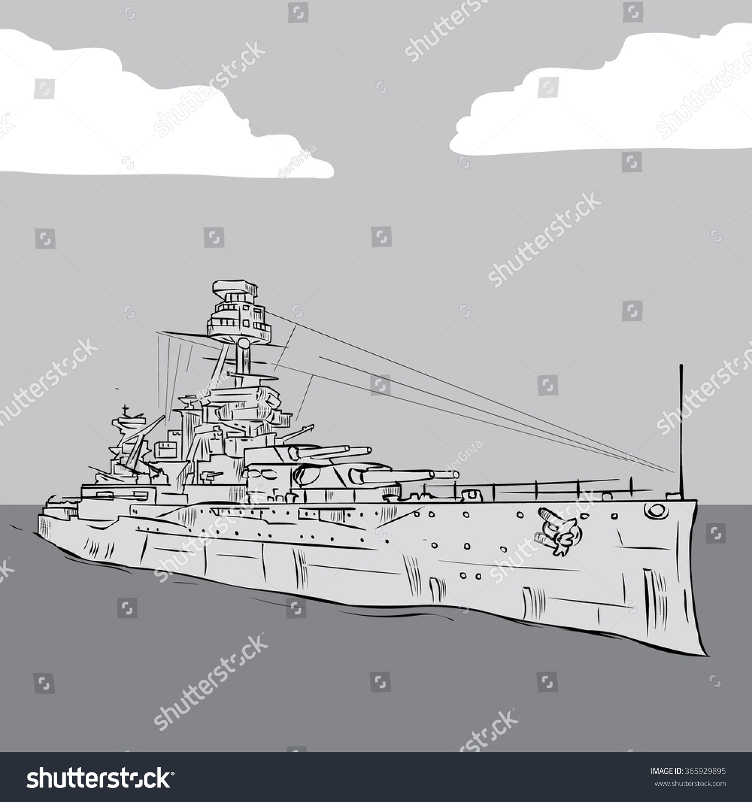 hight resolution of world war 2 us battleship hand drawn vector illustration