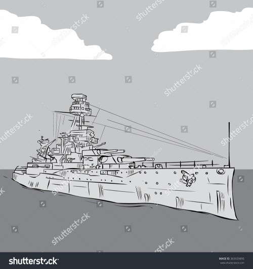 small resolution of world war 2 us battleship hand drawn vector illustration