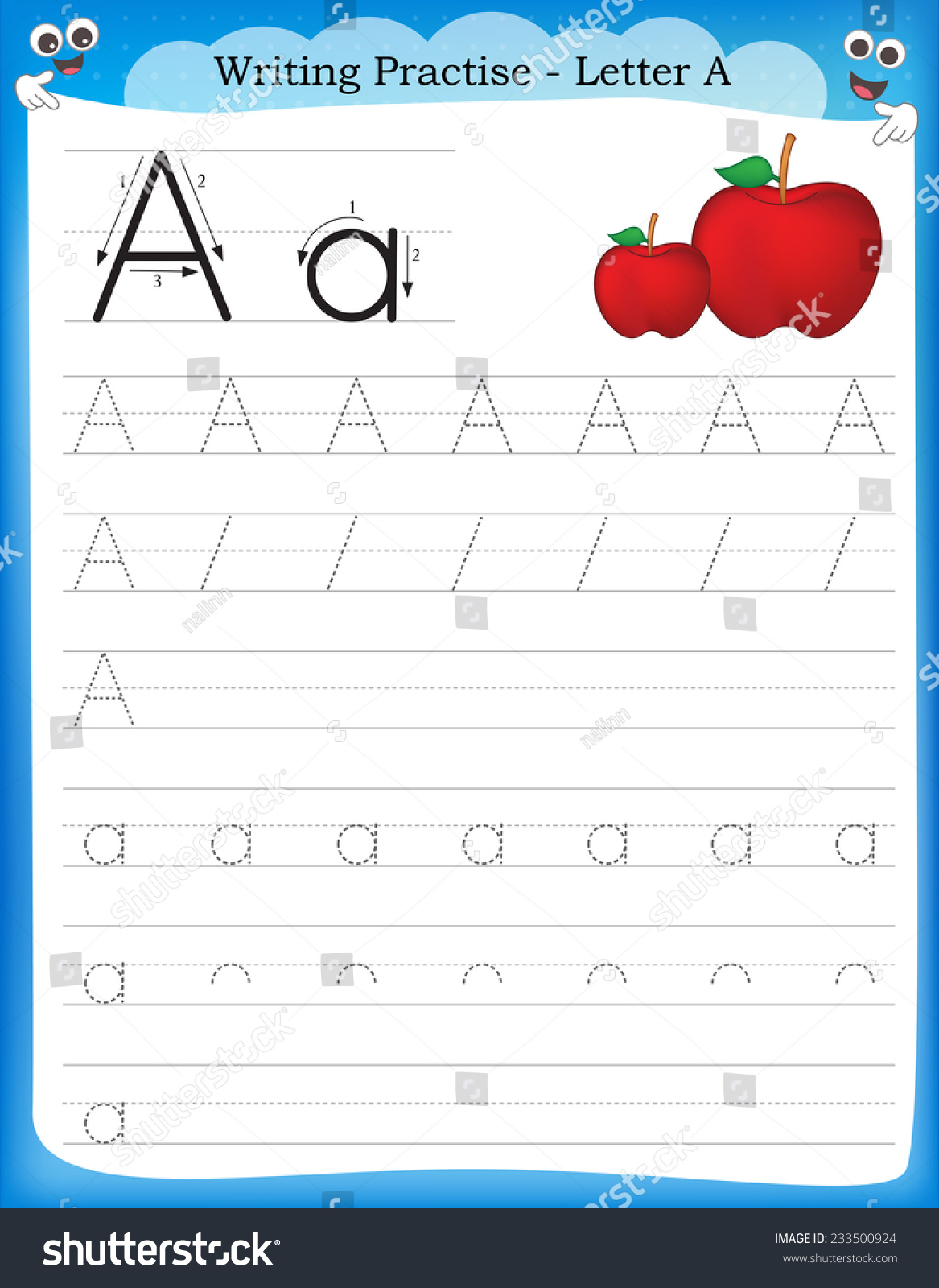 Writing Practice Letter Printable Worksheet Preschool