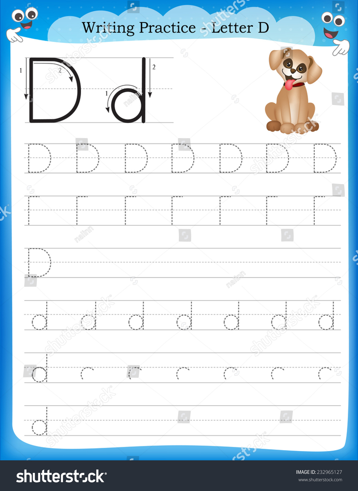 Writing Practice Letter D Printable Worksheet For Preschool Kindergarten Kids To Improve Basic