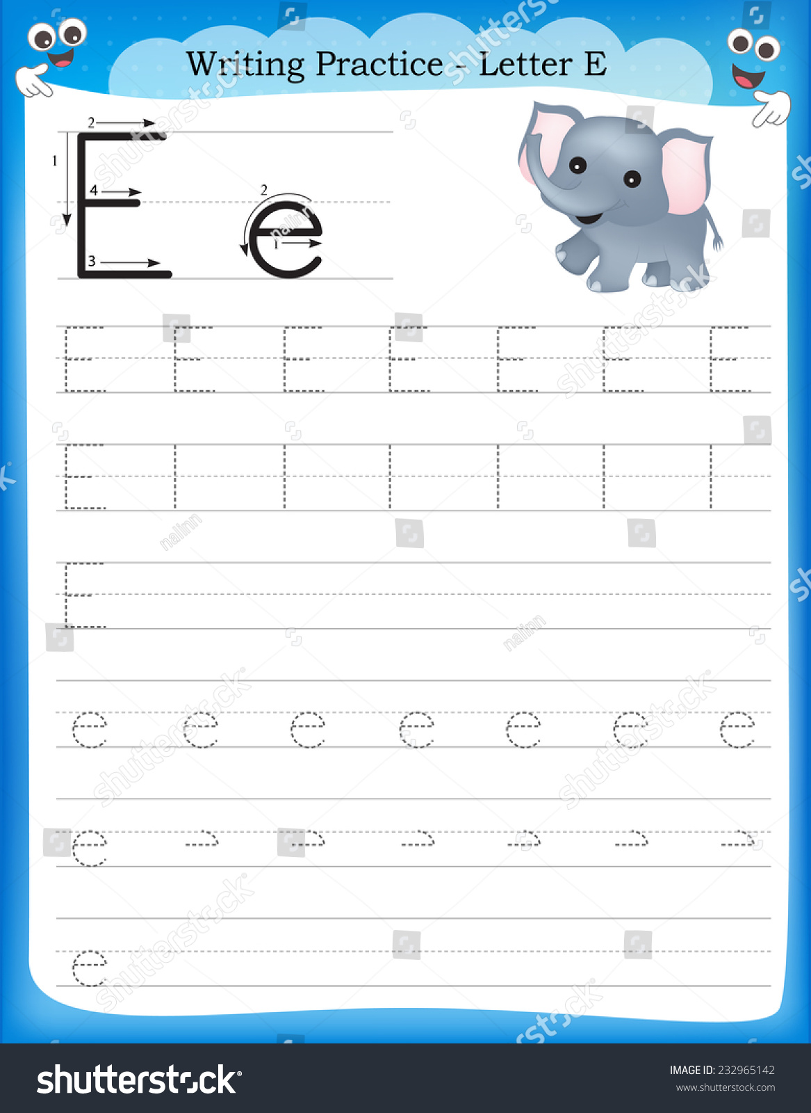 Writing Practice Letter E Printable Worksheet Stock Vector