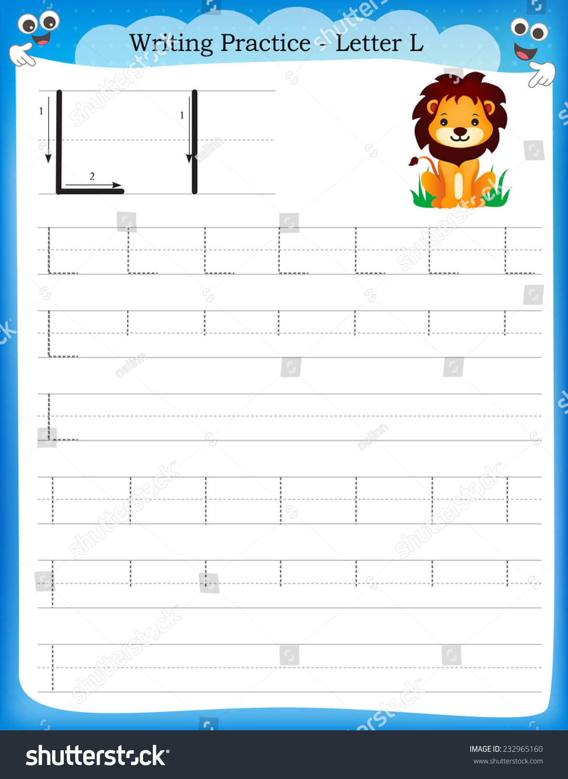 Writing Practice Letter L Printable Worksheet With Clip Art For Preschool Kindergarten Kids To