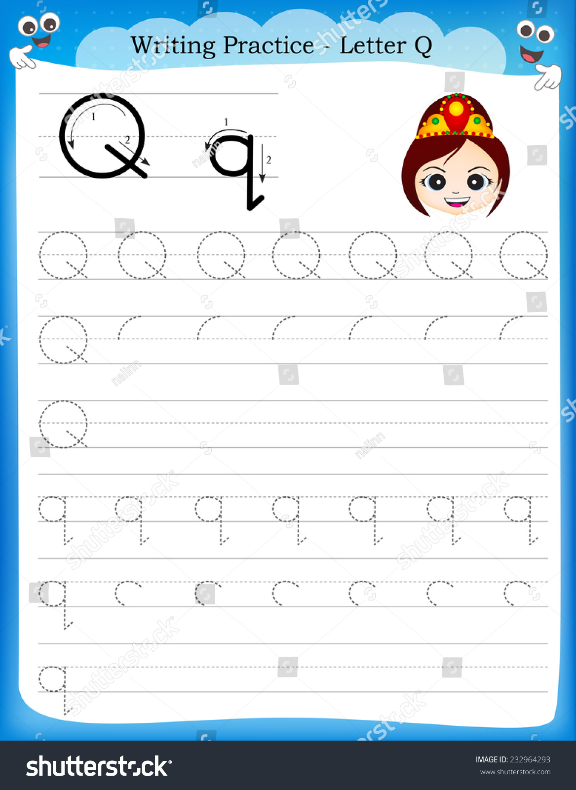 Writing Practice Letter Q Printable Worksheet With Clip