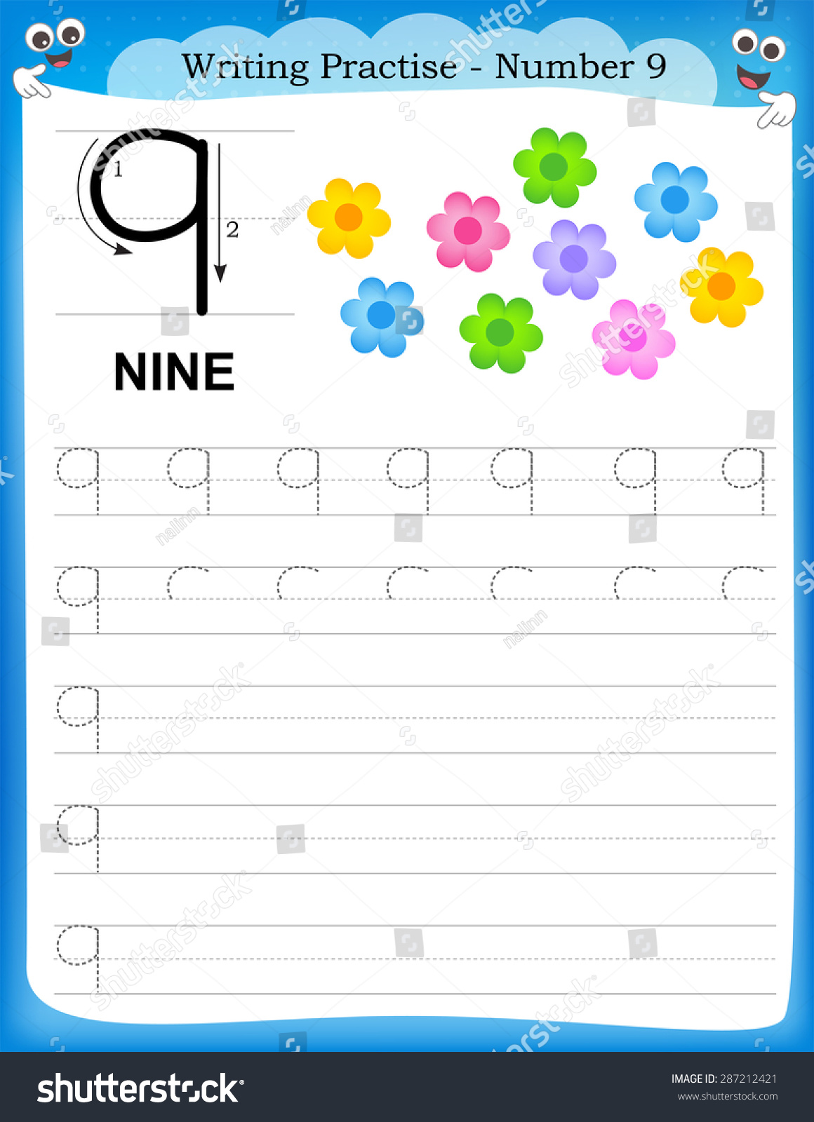 Writing Practice Number Nine Printable Worksheet Stock