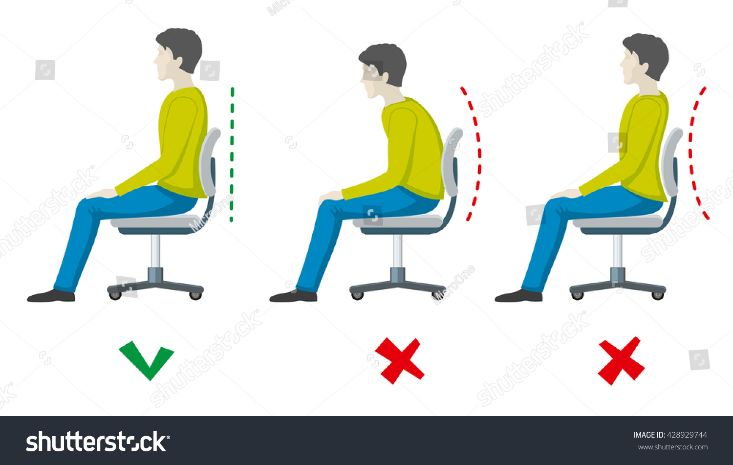 sitting posture on chair in office garden recliner covers wrong right spine vector stock
