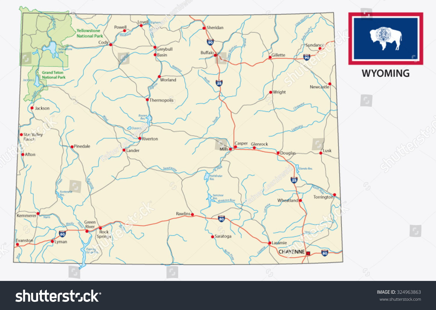 Wyoming Road Map Flag Stock Vector