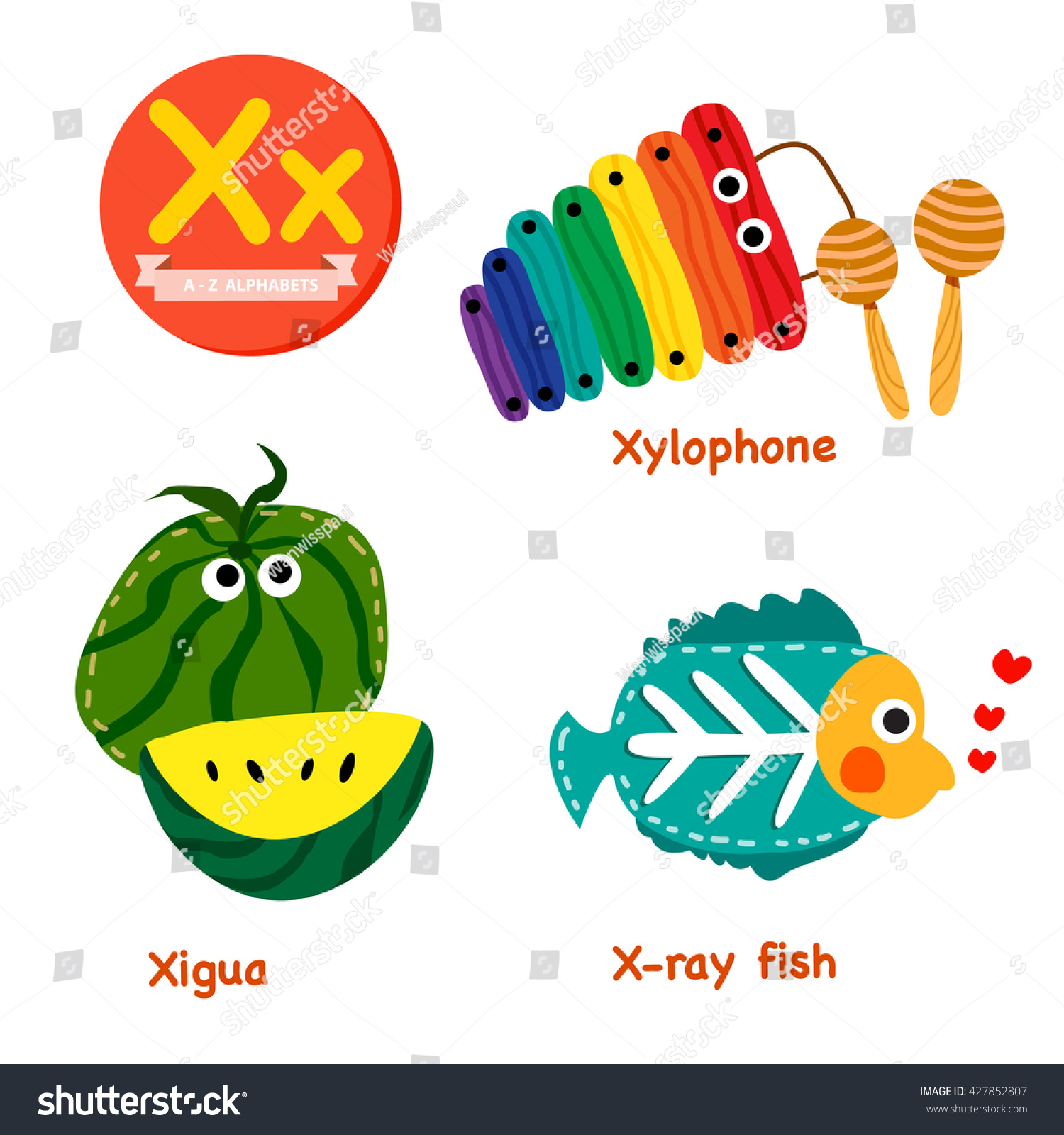 X Vocabulary Cartoon Set Xigua Xray