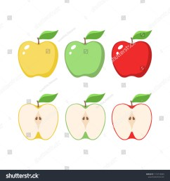 yellow green and red apples clipart cartoons sliced apple  [ 1500 x 1600 Pixel ]
