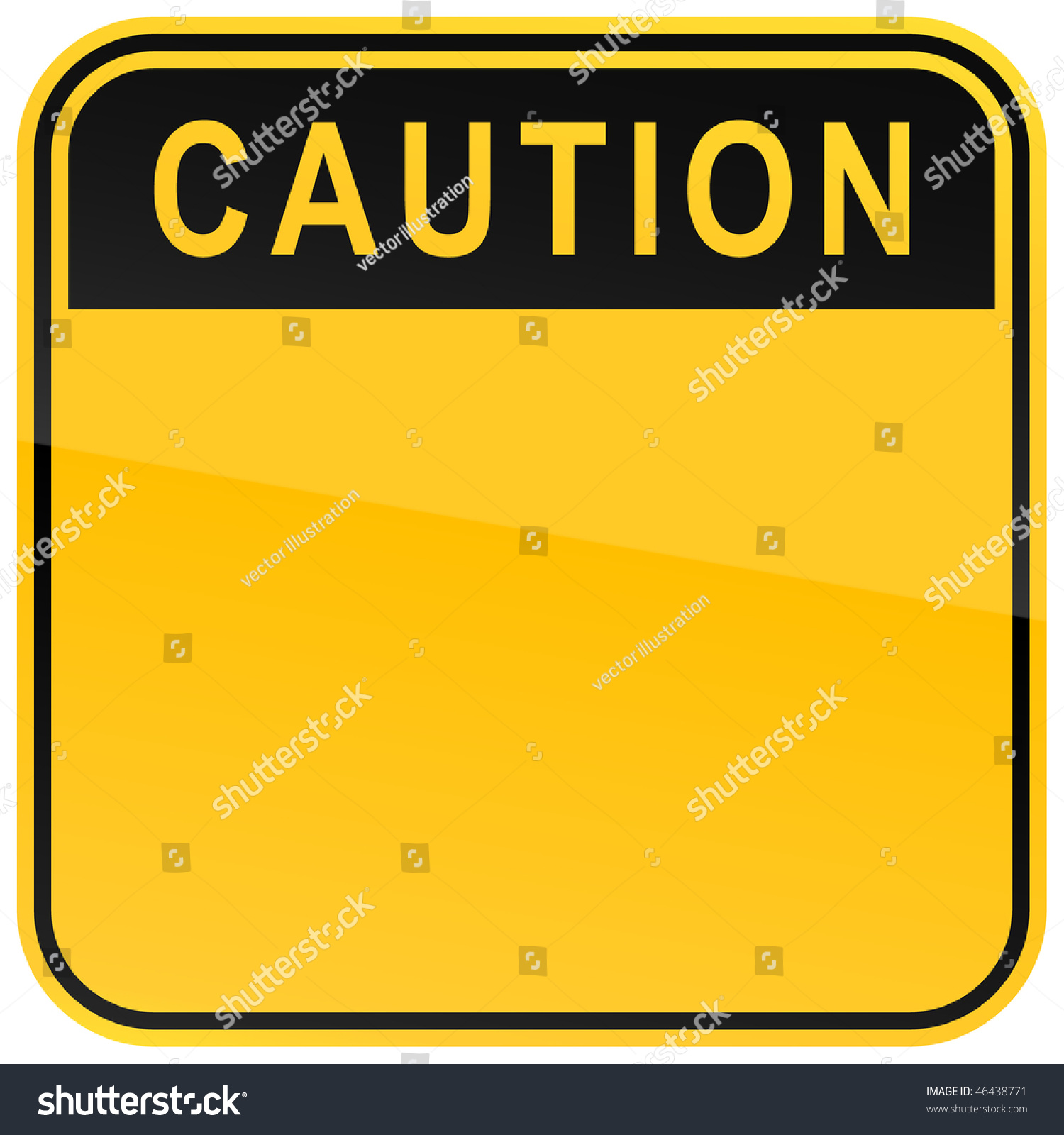 Yellow Warning Blank Caution Sign On Stock Vector