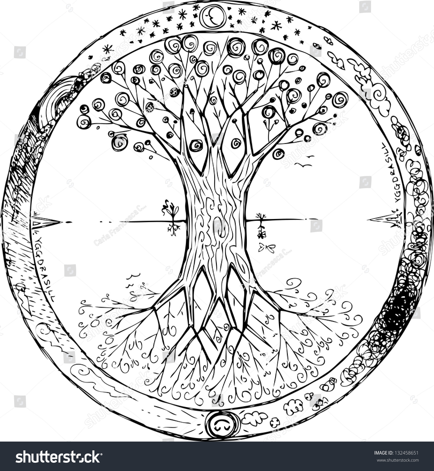 Yggdrasil Celtic Tree Life Mandala Stock Vector 132458651