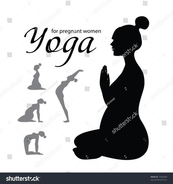 Yoga Pregnant Women Set Icons Stock Vector 73563409