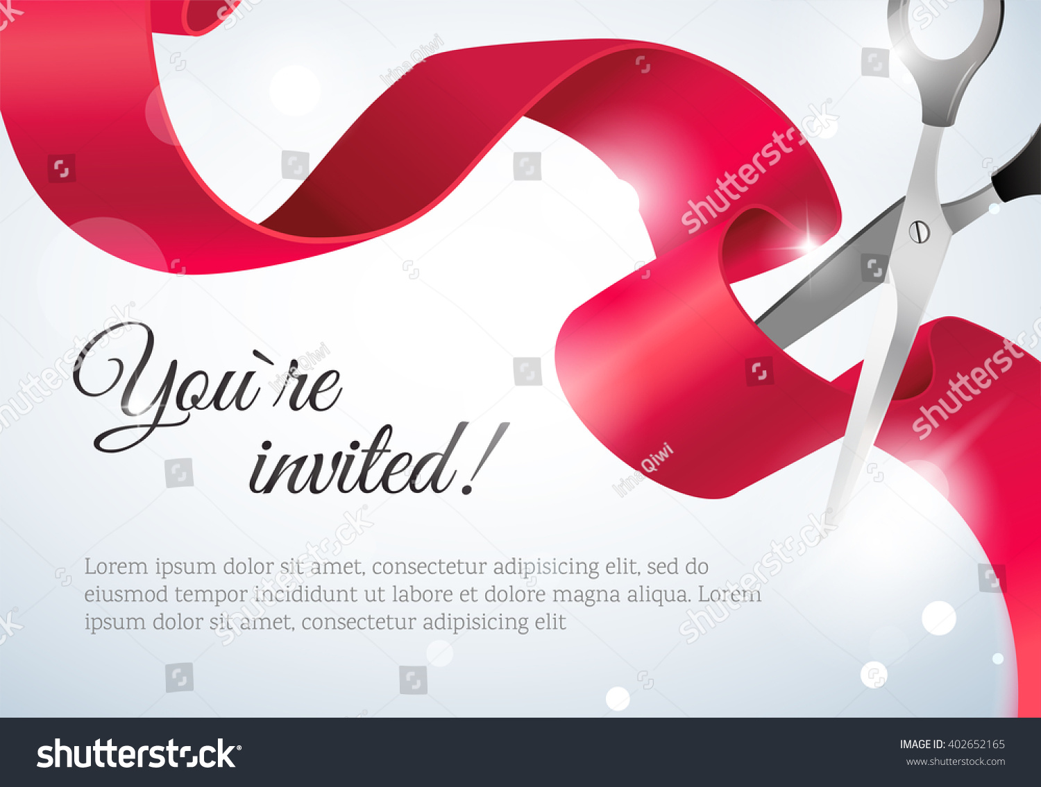 You Invited Invitation Card Curving Ribbon Stock Vector