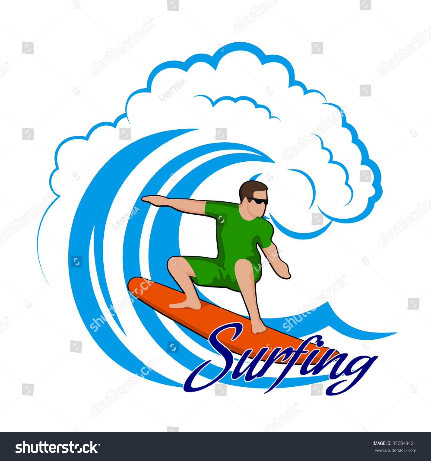 hight resolution of young man on a wave color clipart