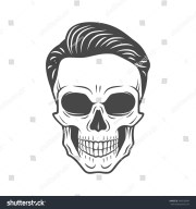 young stylish skull hipster hair
