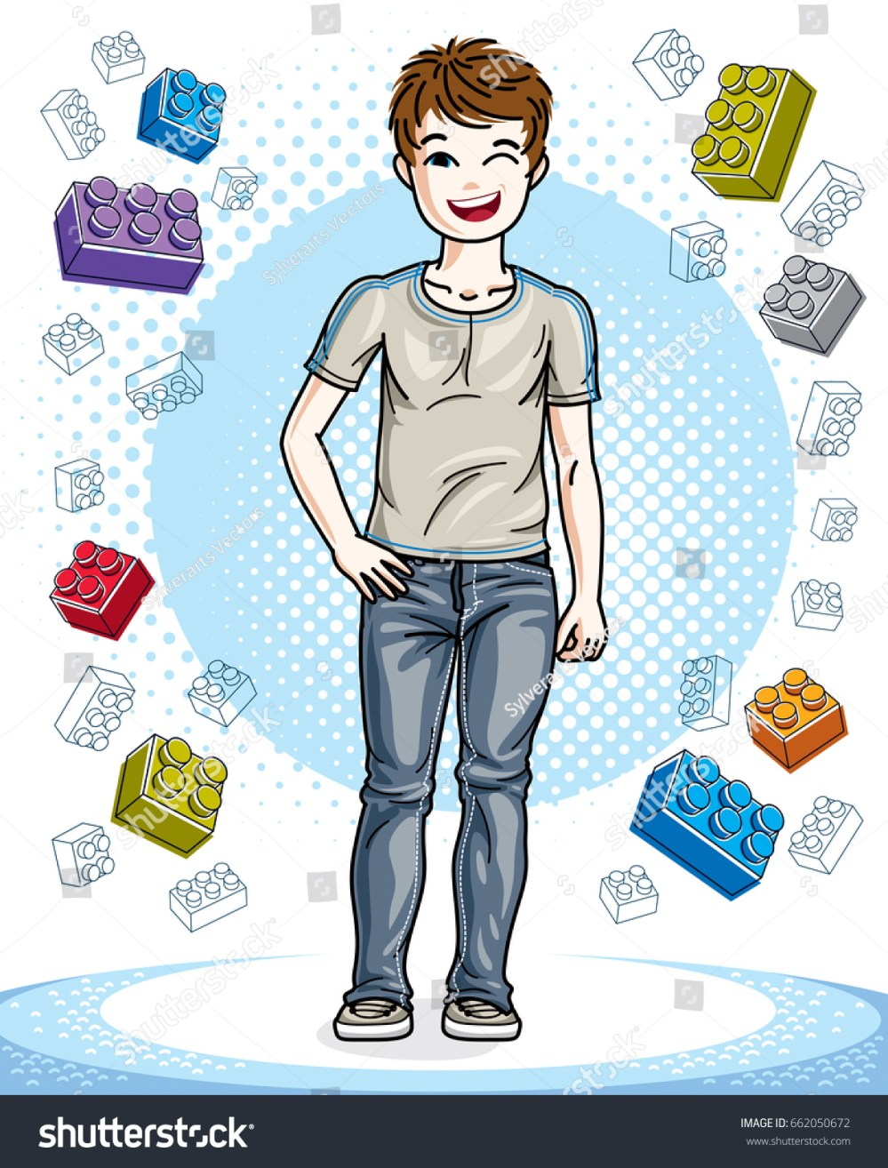 medium resolution of young teen boy cute children standing in stylish casual clothes vector character fashion theme clipart vector