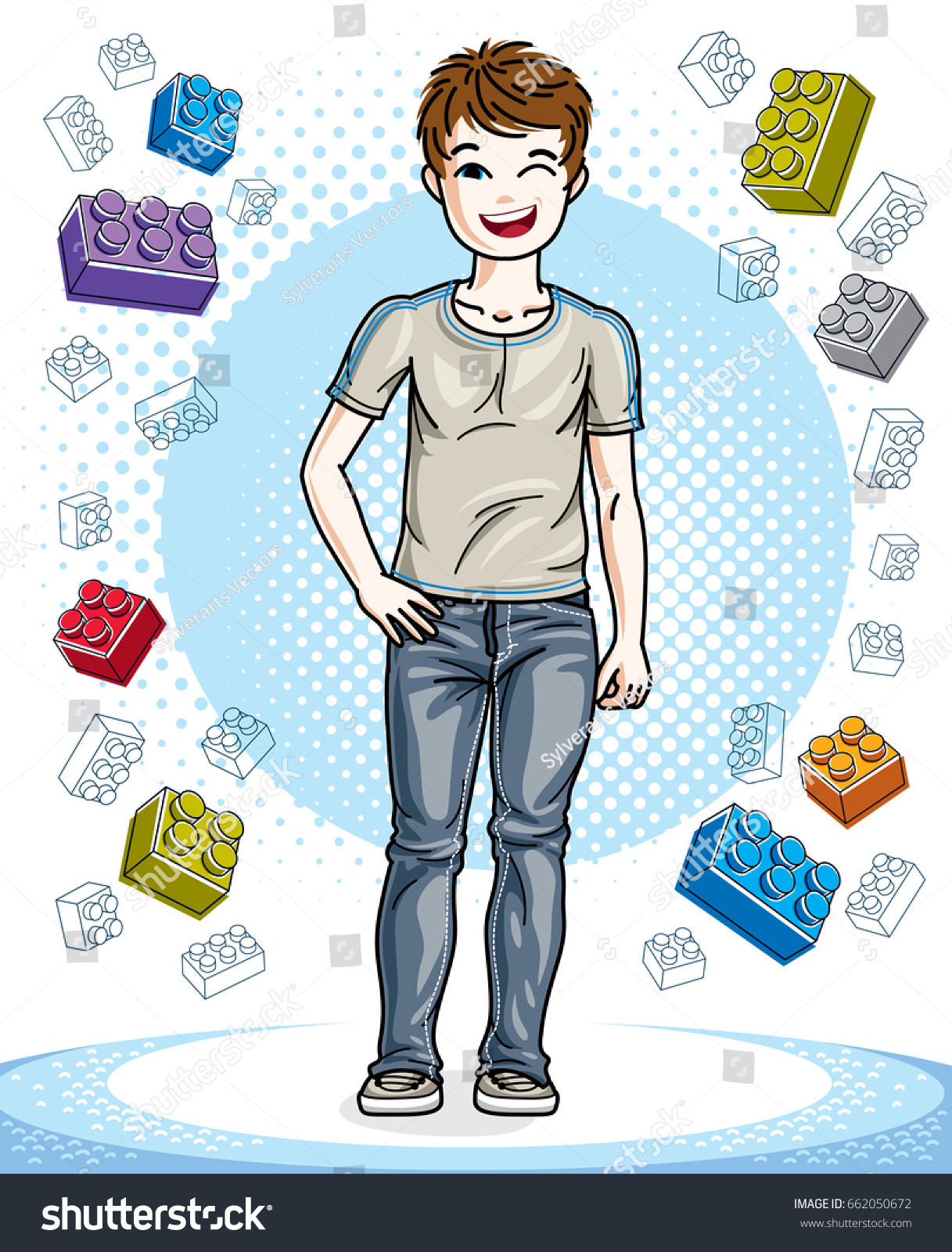 hight resolution of young teen boy cute children standing in stylish casual clothes vector character fashion theme clipart vector