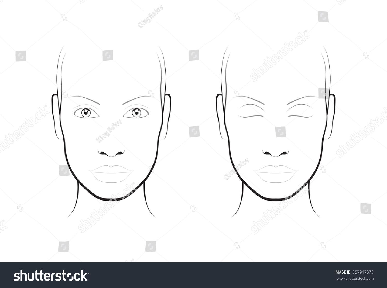Young Woman Face Chart Makeup Artist Stock Vector