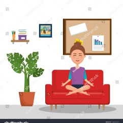 Yoga Sofa Restoration Hardware Sofas Reviews Young Woman Practicing Stock Vector Royalty Free In The