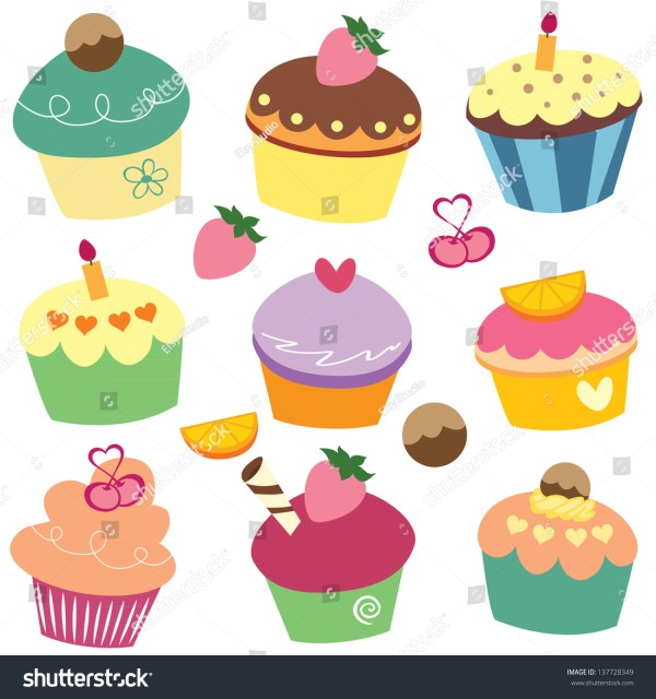 yummy cupcakes clip art stock vector