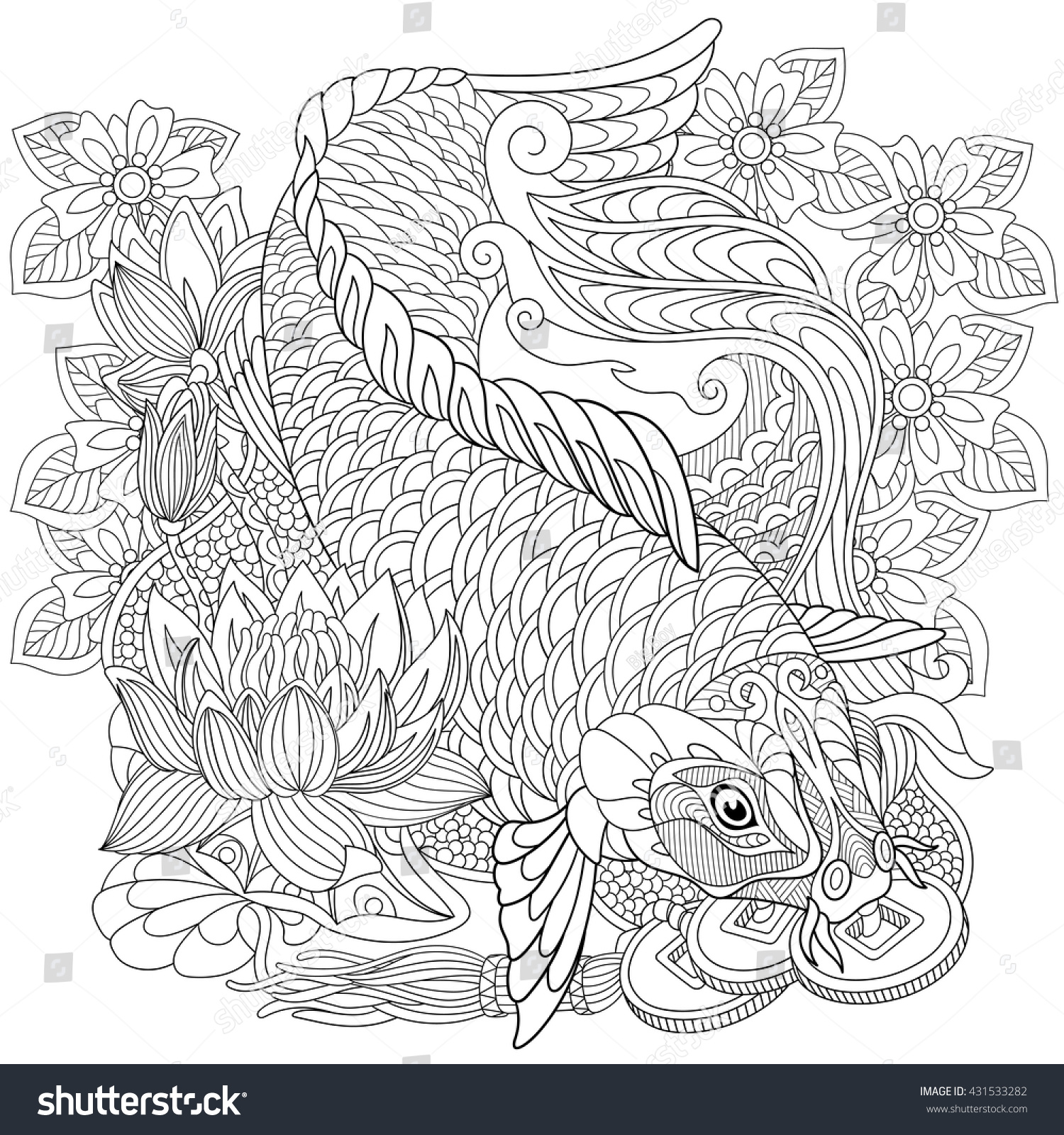 Zentangle Stylized Cartoon Koi Carp Isolated Stock Vector