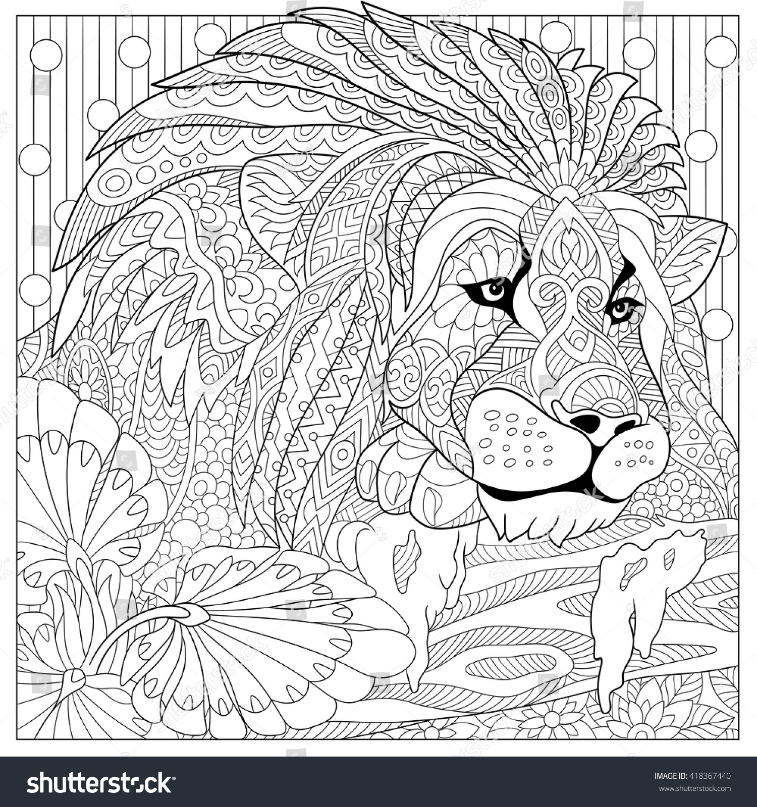 Zentangle Stylized Cartoon Lion Wild Cat Stock Vector