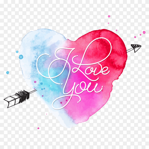 Download Watercolor heart lettering i love you vector PNG - Similar PNG