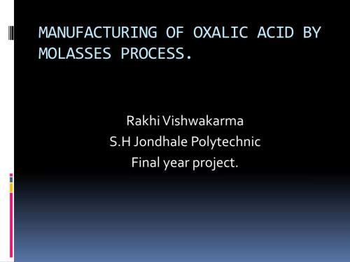 small resolution of manufacturing of oxalic acid by molasses process