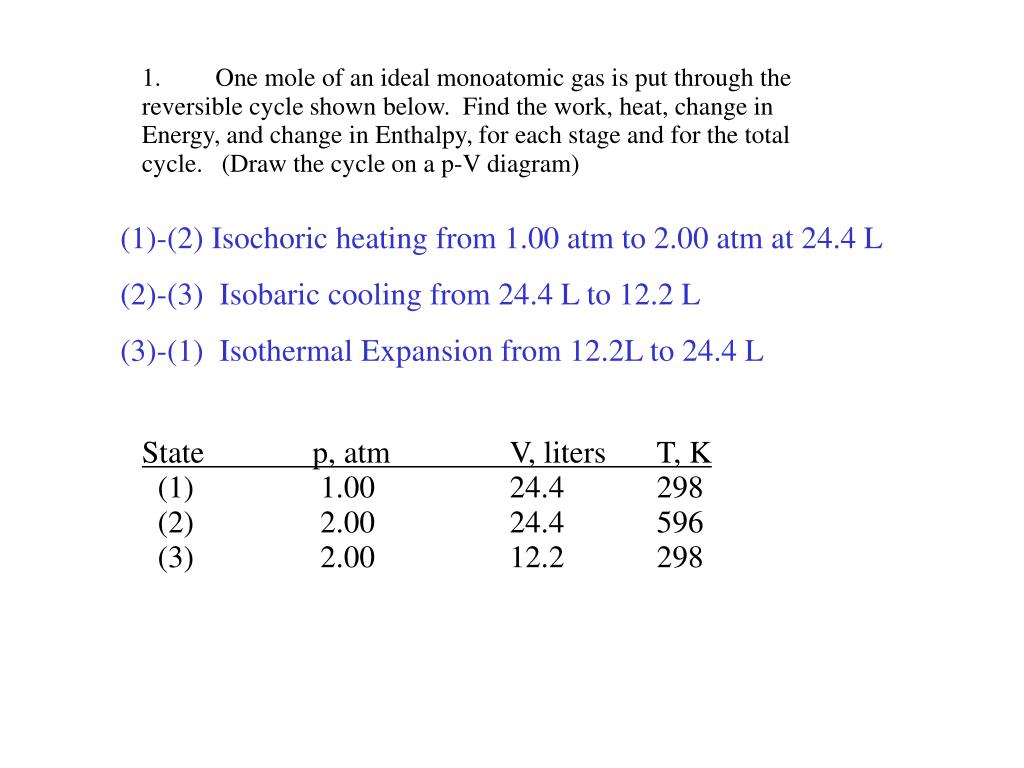 hight resolution of find the work heat change in energy and change in enthalpy for each stage and for the total cycle draw the cycle on a p v diagram 1 2 isochoric