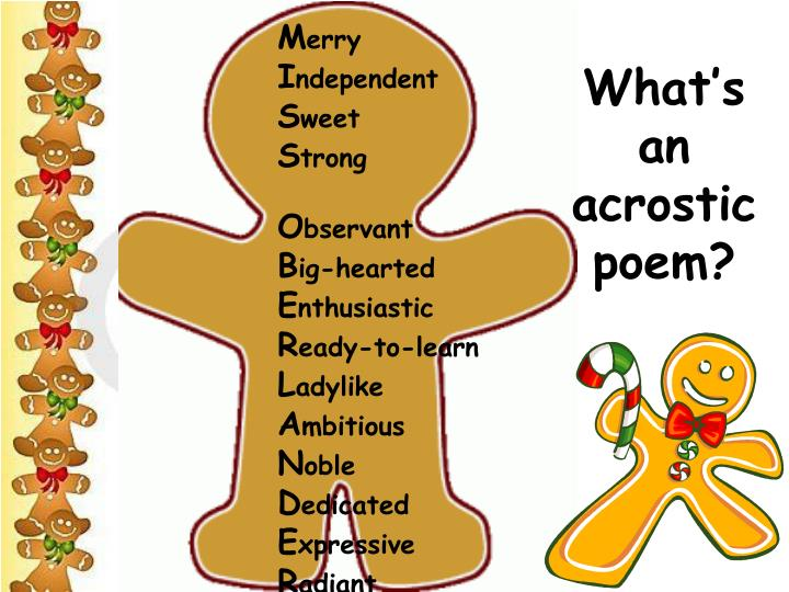 PPT  Simile Acrostic Poems on Gingerbread Boys and Girls