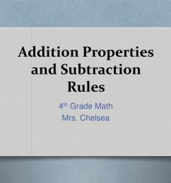 PPT - Addition Properties and Subtraction Rules PowerPoint Presentation -  ID:1149701 [ 768 x 1024 Pixel ]