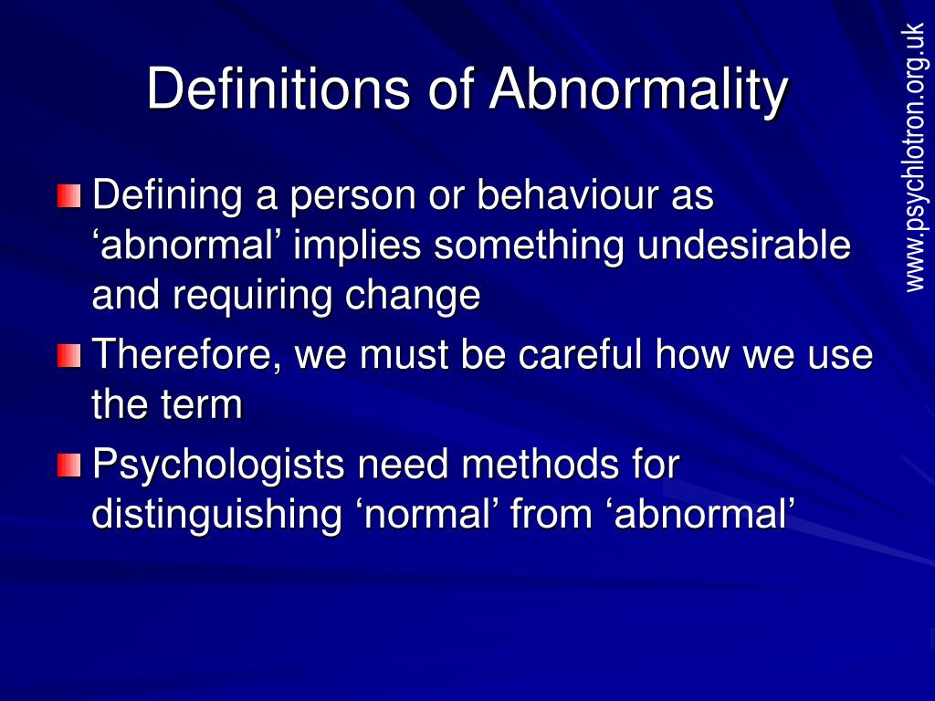 PPT - Definitions of Abnormality PowerPoint Presentation ...