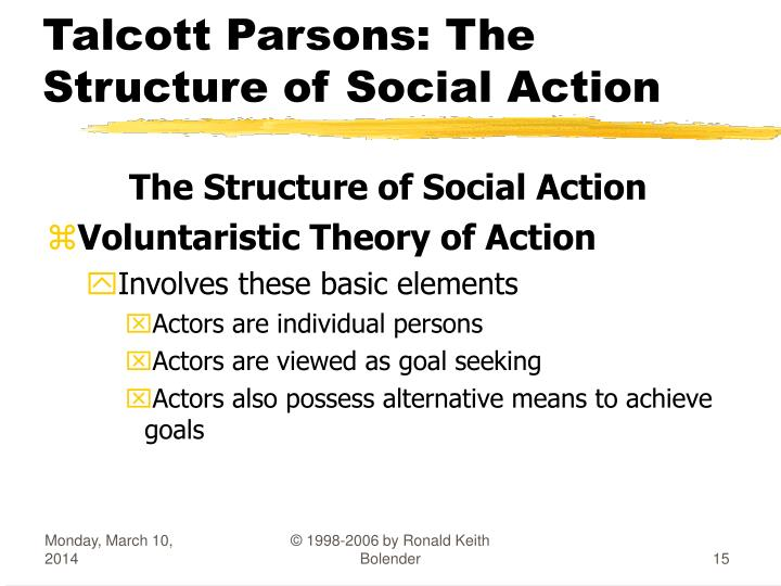 ️ Parsons action theory. The Structure of Social Action