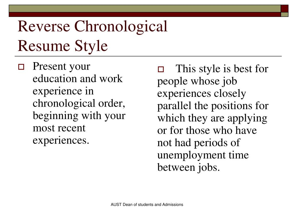 Chronological Order Resume Example Ppt Career Guidance Seminar Powerpoint Presentation Id
