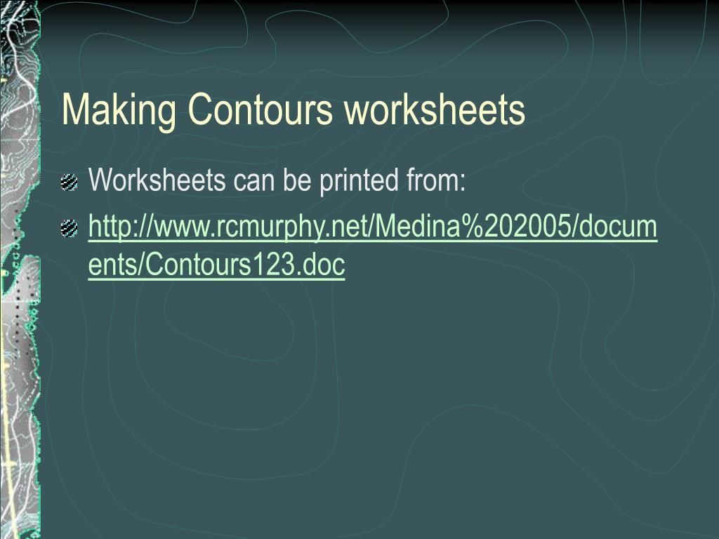 Making A Contour Map Worksheet