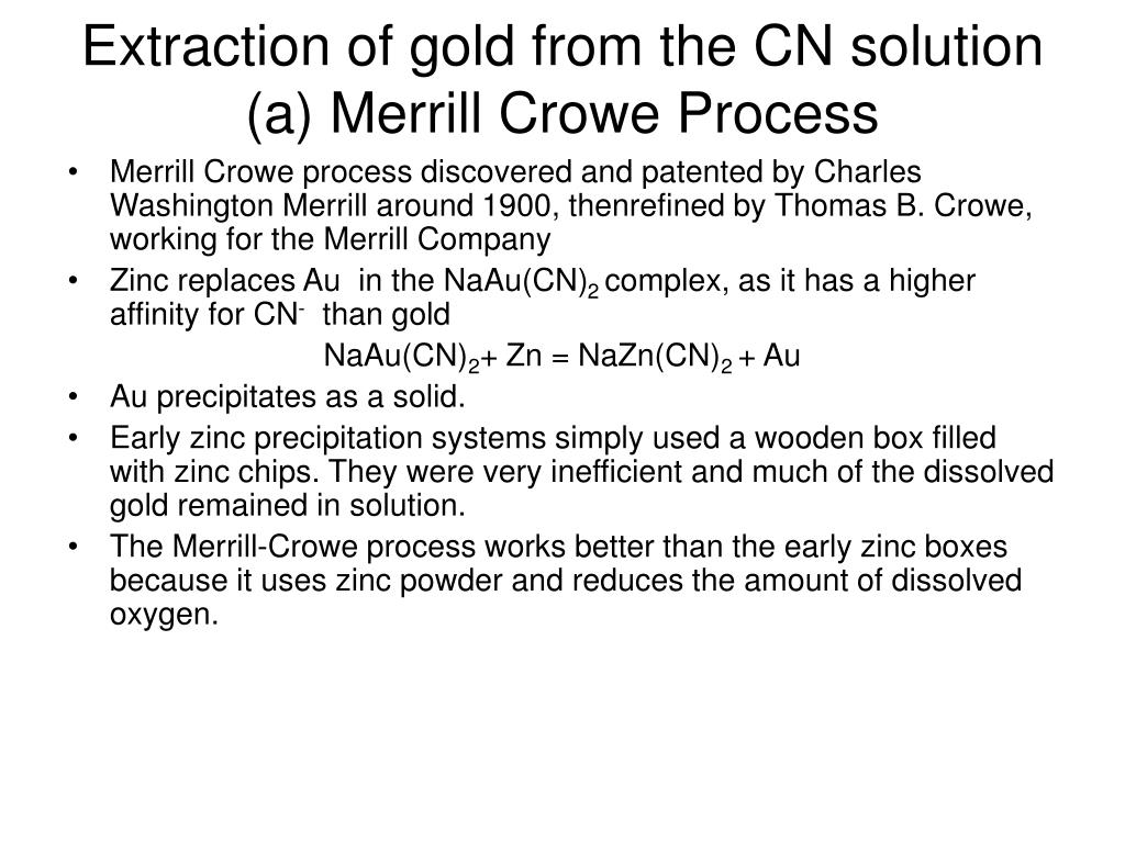 hight resolution of extraction of gold from the cn solution a merrill crowe process