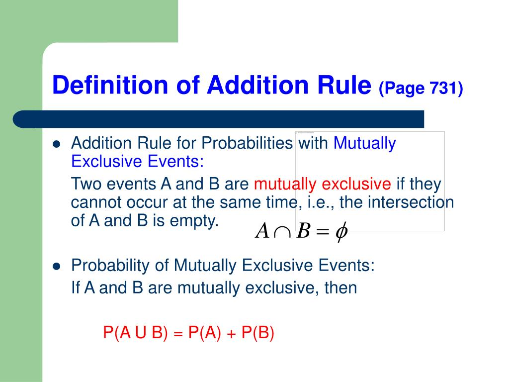 PPT - Section 11.4 Addition and Complement Rule PowerPoint ...