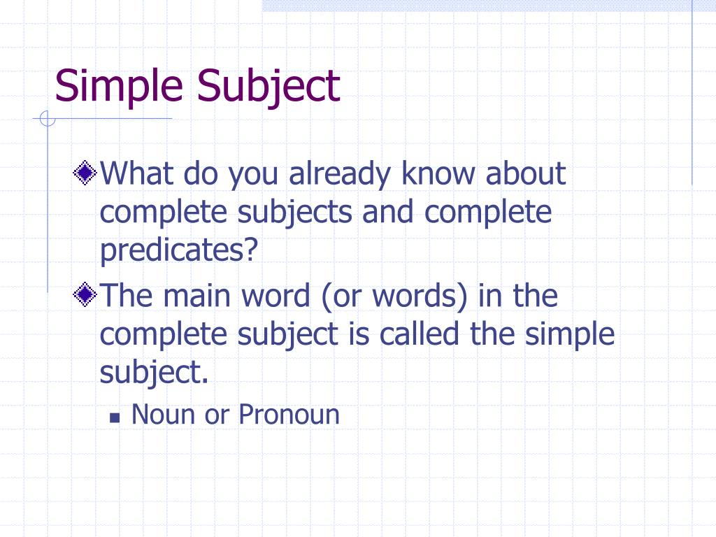 Ppt  Simple Subjects And Predicates Powerpoint