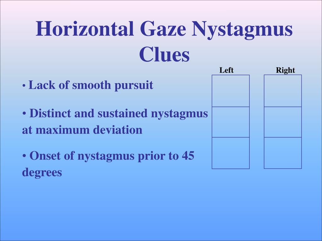 Horizontal Gaze Nystagmus Test Steps